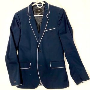 H&M Blue Blazer w/ White Piping 36R